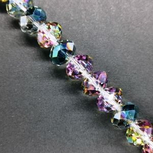 12x10mm Rondelle Crystal - Green/Purple Shimmer