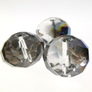 15x12mm Rondelle Crystal - Black Diamond AB (3pcs)