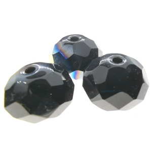 15x12mm Rondelle Crystal - Jet AB (3pcs)