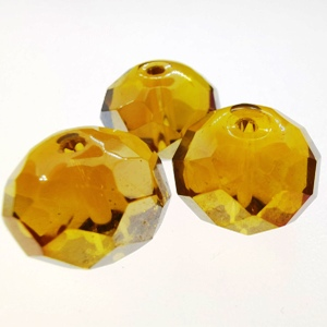 15x12mm Rondelle Crystal - Topaz AB (3pcs)