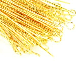 3cm-Eye Pins-Gold Plated (100pcs)
