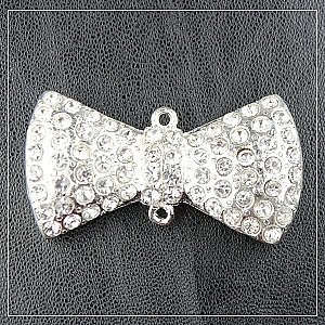 43mm-rhinestone bow-silver plated