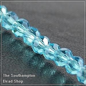 Chinese 4mm Round Crystals - Aqua