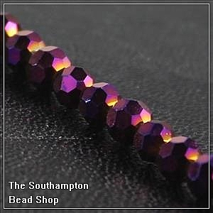 Chinese 4mm Round Crystals - Metallic Purple