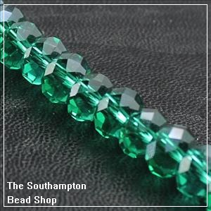 Chinese 4x6mm Rondelle Crystals - Emerald