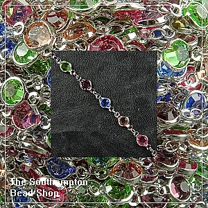 Chain-Bezel Crystal-Rhodium plated-Multi Coloured (50cm)