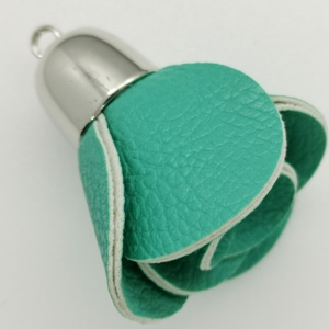 Flower Bag Charm-Turquoise with S/Cap