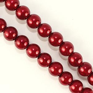 8mm Glass Pearl - Dark Red