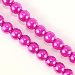 8mm Glass Pearl - Fuchsia