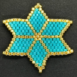 Beaded Ornaments - Large Star - Turquoise
