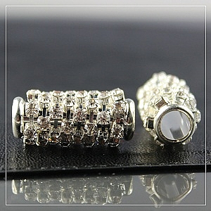 Large rhinestone-tube-silver plated