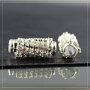 Medium rhinestone-tube-silver plated
