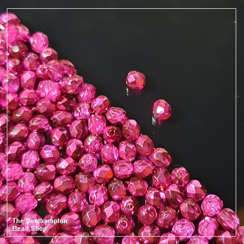 Preciosa Fire Polished Beads 4mm - Crystal Hot Pink Metallic Ice - Bulk Buy Pack