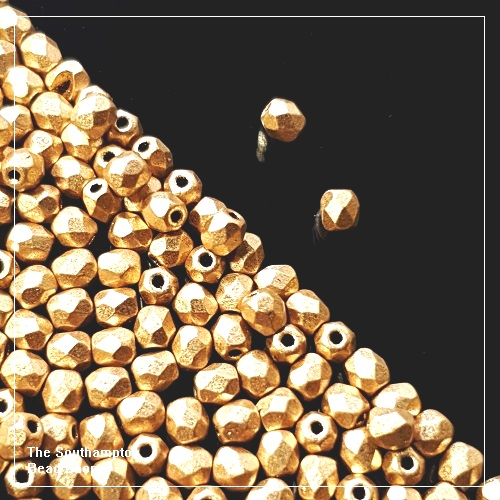 Preciosa Fire Polished Beads 4mm - Aztec Gold - Bulk Buy Pack