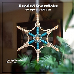 Project Kit - 3010 Beaded Snowflake Kit (Make 2) - (Turquoise/Gold)