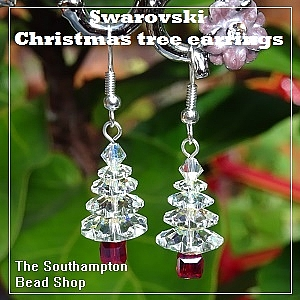 Project kit - 4006 (Crystal AB) Swarovski 4-tier Christmas tree earrings