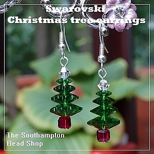 Project kit - 4006 (Fern Green) Swarovski 4-tier Christmas tree earrings
