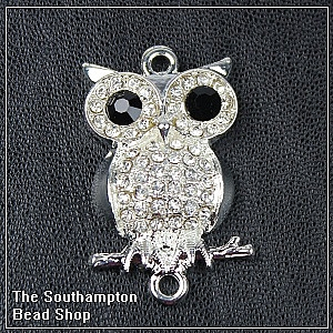 Rhinestone Owl connector - Silver plated