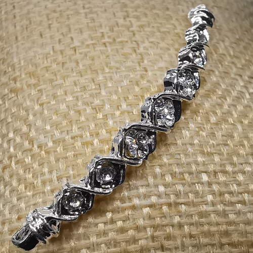 Rhinestone connector Curved Shape - Silver plated
