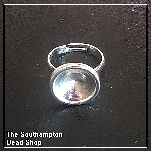 14mm Rivoli ring base - silver plated