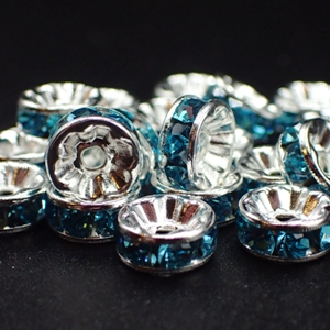 8mm Rhinestone Rondelle-Aqua (pkt of 20)