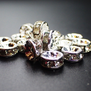 6mm Rhinestone Rondelle-Crystal (pkt of 20)