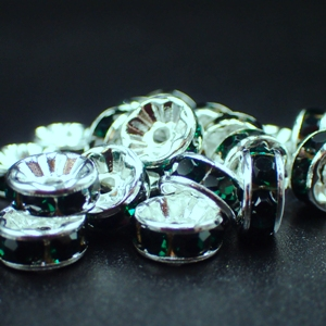 6mm Rhinestone Rondelle-Emerald (pkt of 20)
