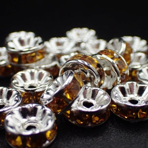 6mm Rhinestone Rondelle-Topaz (pkt of 20)