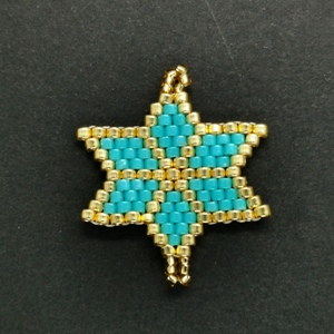 Beaded Ornaments - Small Star - Turquoise