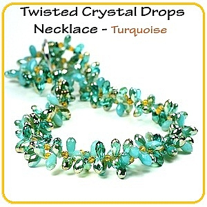 Twisted Crystal Drops Necklace - Turquoise