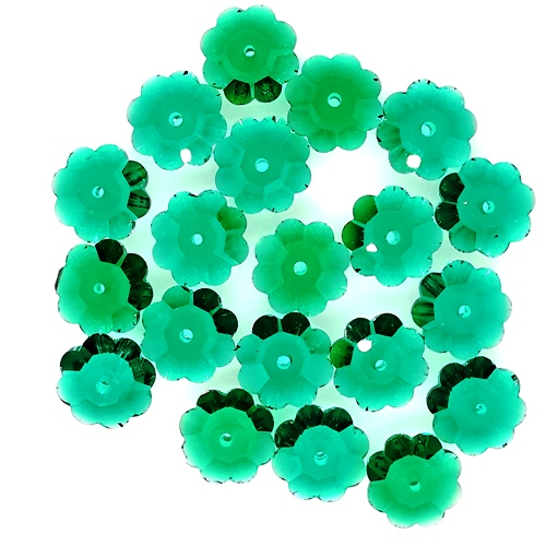Crystal Daisy Spacers Emerald (4 Sizes, 20 pcs of each)