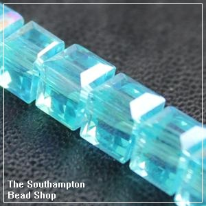 Chinese 6mm Cube Crystals - Aqua AB