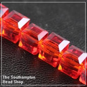Chinese 6mm Cube Crystals - Light Siam