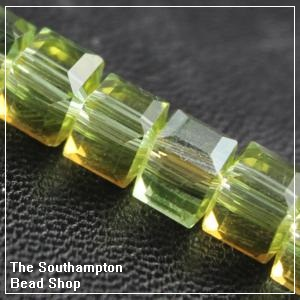 Chinese 6mm Cube Crystals - Olivine AB