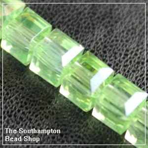 Chinese 6mm Cube Crystals - Peridot AB