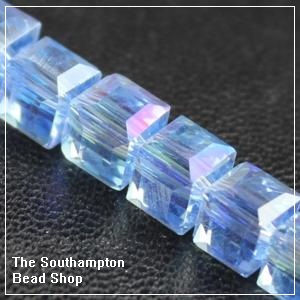 Chinese 6mm Cube Crystals - Sapphire AB