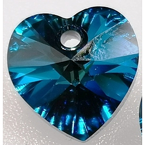 10mm Swarovski heart Bermuda Blue