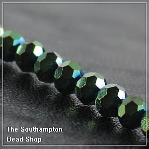 Chinese 4mm Round Crystals - Metallic Green