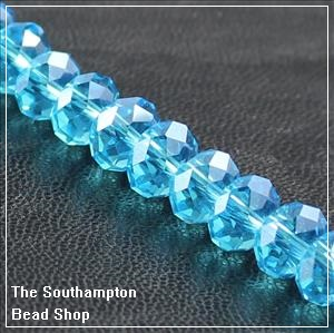 Chinese 4x6mm Rondelle Crystals - Aqua