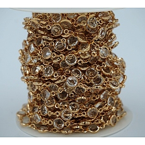 Chain-Bezel Crystal-Champagne gold finished-Crystal (50cm)