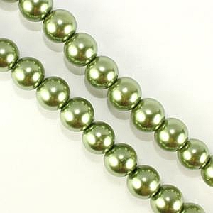 14mm Glass Pearl - Olivine