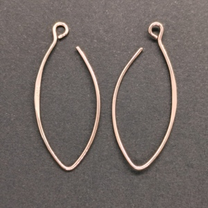 925 Silver Oval Earring Hooks Rose Gold Finished