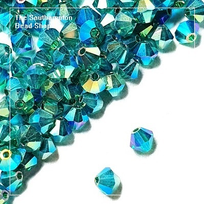 Preciosa Bicones Beads 4mm - Emerald AB 2x