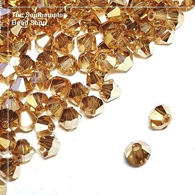 Preciosa Bicones Beads 3mm - Crystal Golden Flare