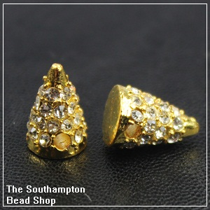 Rhinestone spike-Gold plated